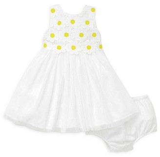 Little Me Baby Girl's 2-Piece Daisy Lace Dress Bloomers Set