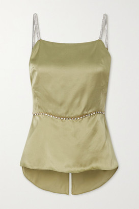 HARMUR Open-back Crystal-embellished Silk-satin Top - Army green