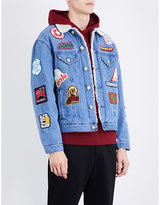 GCDS Patch-detail faux-shearling and denim jacket