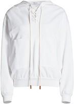 Frame Lace-Up Hooded Sweatshirt