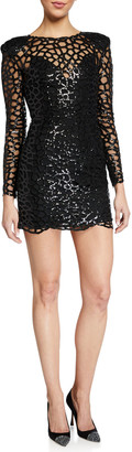 Bronx and Banco Spider Long-Sleeve Sequin Embellished Mini Sheath Dress