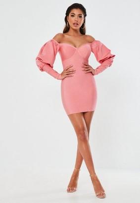 Missguided Premium Pink Bandage Bardot Puff Sleeve Mini Dress
