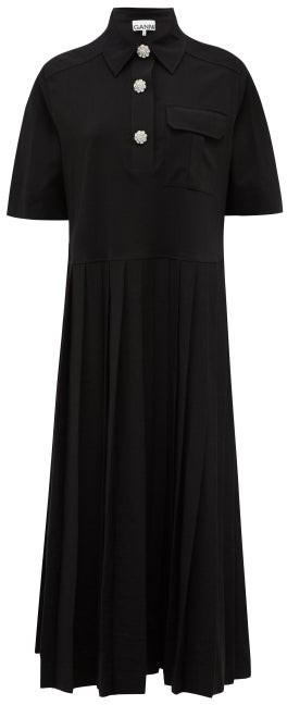 Ganni Crystal-button Jersey Midi Shirt Dress - Black
