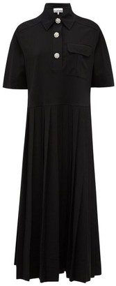Ganni Crystal-button Jersey Midi Shirt Dress - Black