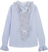 Tome Ruffled Striped Cotton-poplin Shirt - Blue