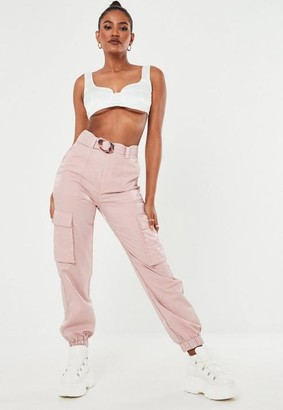 Missguided Pink Shimmer Tortoiseshell Belted Cargo Pants