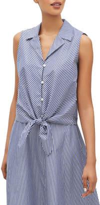 Lafayette 148 New York Wynter Striped Button-Front Sleeveless Tie-Hem Blouse