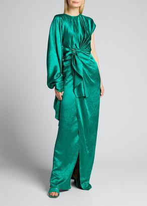 Sies Marjan Crinkled Satin One-Shoulder Gown