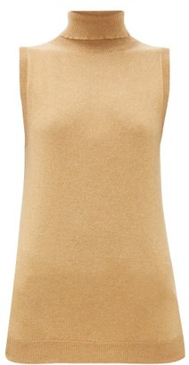 Johnstons of Elgin Johnston's Of Elgin - Sleeveless Cashmere Roll-neck Sweater - Camel