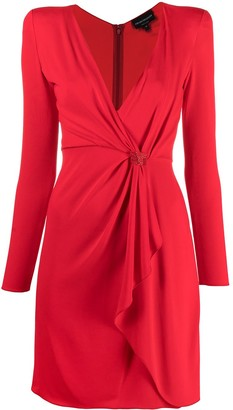 Emporio Armani crystal-embellished draped V-neck dress
