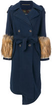 Bazar Deluxe fur detail trench coat