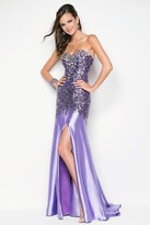 Blush Lingerie Strapless Sequined Long Gown with Slit 9601