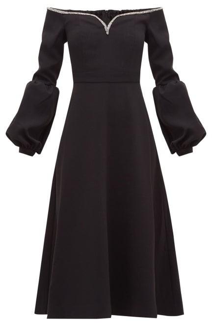 Self-Portrait Crystal-embellished Off-the-shoulder Cady Dress - Womens - Black