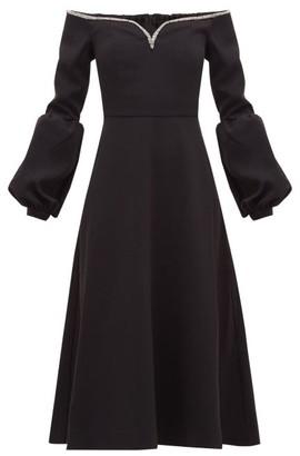 Self-Portrait Crystal-embellished Off-the-shoulder Cady Dress - Black
