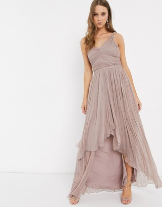 ASOS DESIGN one shoulder pleated maxi dress with dip back hem