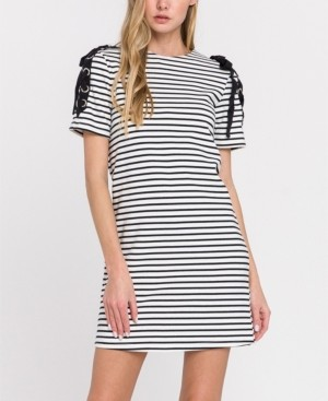 ENGLISH FACTORY Stripe Knit Dress with Tie