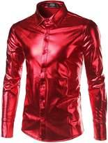 JOGAL Mens Metallic Silver Nightclub Styles Long Sleeves Button Down Dress Shirts XX-Large
