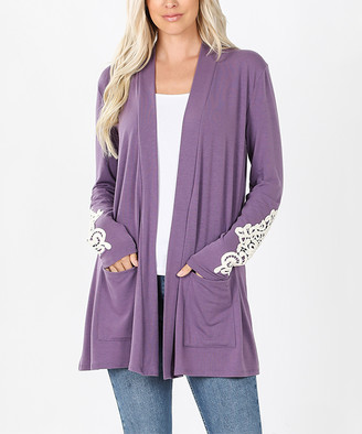 Lydiane Women's Open Cardigans LILACGREY - Lilac Gray Lace Sleeve-Accent Pocket Open Cardigan - Plus