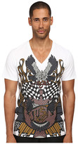 Just Cavalli Vintage Eagle Check V-Neck Tee