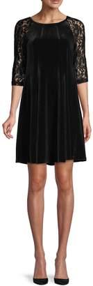 Gabby Skye Lace-Sleeve Velvet Mini Shift Dress