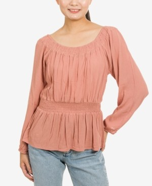 Hippie Rose Juniors' Convertible-Neckline Peplum Top