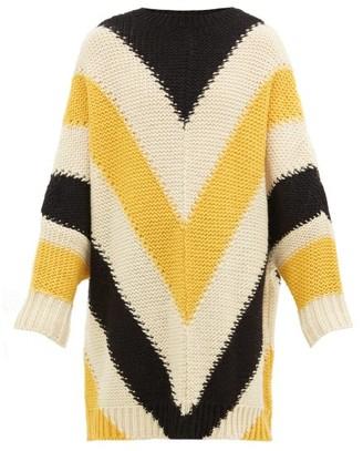Loewe Oversized Chevron-stripe Wool Sweater - Black Yellow