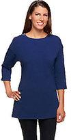 Denim & Co. Perfect Jersey 3/4 Sleeve Tunic w/ Zipper Detail