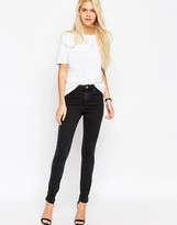 Asos Ridley High Waist Skinny Jeans in Washed Black