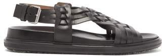 Marni Fussbet Woven-leather Sandals - Mens - Black