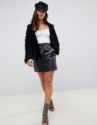 Asos Design DESIGN leather look a-line mini skirt with asymmetric belt-Black