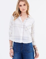 Free People Cropped Cutie Plaid Button Down Shirt