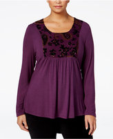 Style&Co. Style & Co. Plus Size Velvet Burnout Babydoll Top, Only at Macy's