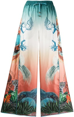 F.R.S For Restless Sleepers Luna japanese print flared trousers