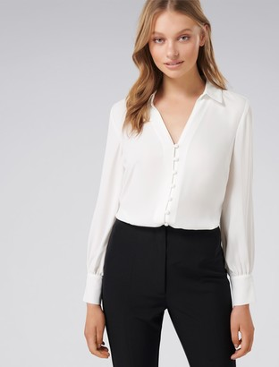 Forever New Larissa Button Front Relaxed Blouse - Porcelain - 6
