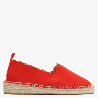 Carmen Saiz Red Suede Scalloped Edge Espadrilles