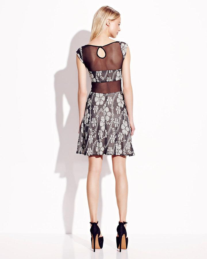 Betsey Johnson Sleeveless Dress With Sheer Insets