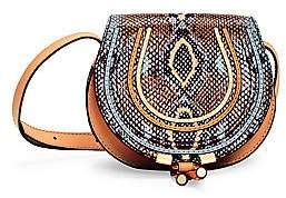 Chloé Women's Small Marcie Python-Embossed Leather Saddle Bag