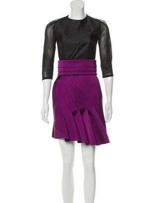 Antonio Berardi Colorblock Pattern Mini Dress Purple