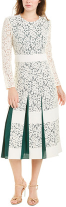 Tory Burch Pleated Lace Midi Dress
