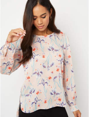 George Pink Floral Textured Button Back Blouse