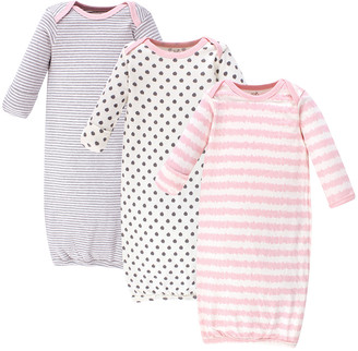 Touched by Nature Girls' Infant Gowns Pink/Gray - Pink & Gray Three-Piece Stripe & Polka Dot Gown Set - Newborn