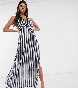 Akasa Exclusive maxi beach dress in navy stripe