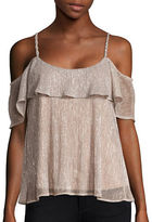 Ella Moss Metallic Ruffled Panel Tank Top