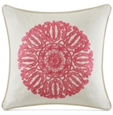 "Echo Florentina Embroidered Pink 18"" Square Pillow"