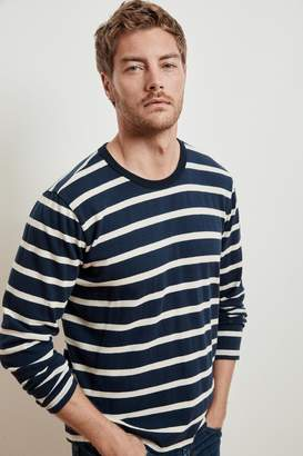 Velvet by Graham & Spencer JASEN STRIPE LINEN BLEND LONG SLEEVE TEE