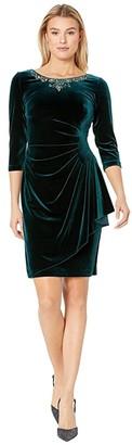 Alex Evenings Short Stretch Velvet Dress with Beaded Neckline (Forest) Women's Dress
