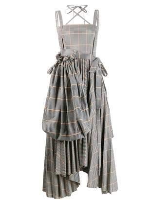 A.W.A.K.E. Mode checked asymmetric flared dress