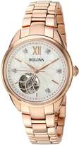 Bulova Women's Automatic Stainless Steel Casual Watch, Color:Rose -Toned (Model: 97P121)