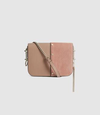 Reiss Jessie - Leather Tassel Cross Body Bag in Rose