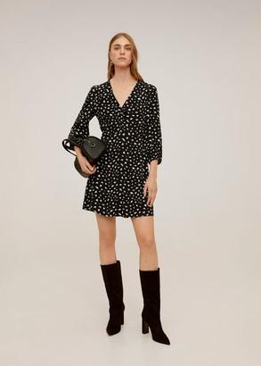 MANGO Printed short dress black - 4 - Women